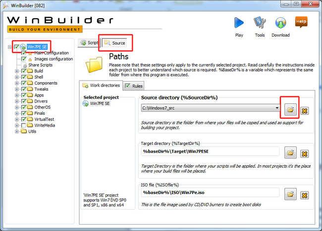 Windows Builder - ustawienia