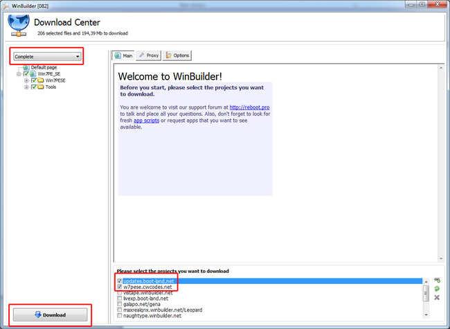 Windows Builder - ekran powitalny