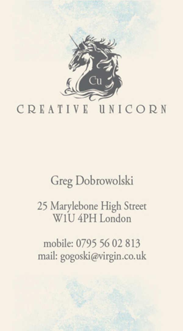 Wizytówki Londyn dla CreativeUnicorn